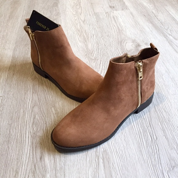 aa8d0cc9902 Brown Tan Faux Suede Ankle Boots Booties NEW NWT NWT